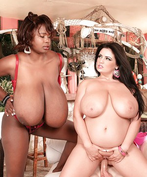 Chubby Euro mom Arianna Sinn and black girlfriend flaunt huge juggs