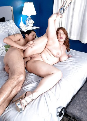Fatty Angel DeLuca baring massive hangers before hardcore fuck session