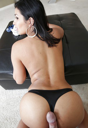 Latina MILF Miya Stone taking cumshot on ass and panties after doggy sex