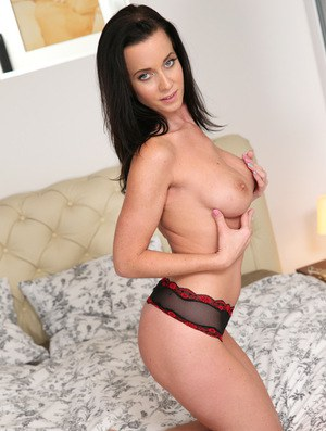 Euro babe Cindy Dollar freeing large MILF tits from see thru lingerie