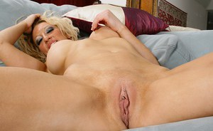Aged blonde loosing big boobs and pierced pussy from sheer lingerie