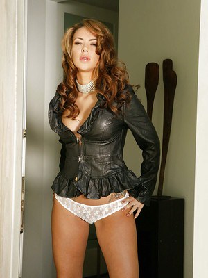 Leather and tattoo adorned babe flaunting perfect MILF pornstar tits