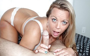 Busty over 40 blonde mom Amber Lynn giving Gonzo themed handjob