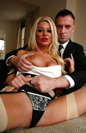 Stocking and high heel clad Euro amateur Tia Layne unveiling large breasts