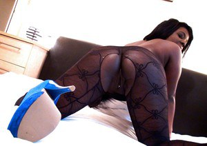 Amateur ebony BBW Eden Adore showing off piercings in bodystocking