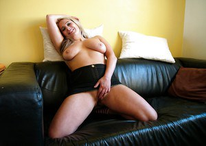 Amateur European mom Kaz B freeing large natural tits from dress in socks