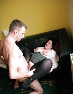 Skirt and pantyhose garbed amateur Euro BWB Andi XXX exposing big boobs