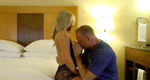 Stocking adorned blonde housewife Sandra Otterson taking facial cumshot