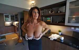 Mature housewife Sandra Otterson baring nice melons for babe photo shoot