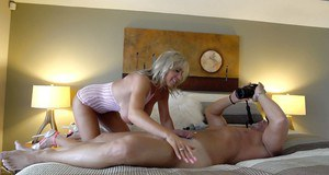Leggy mature housewife Sandra Otterson baring huge tits during hardcore sex