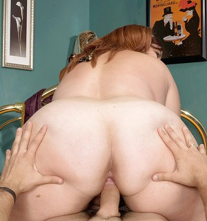 Obese redhead riding big cock before taking cumshot on large saggy its