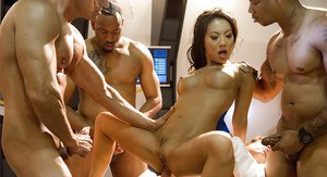 Asian pornstar Asa Akira taking hardcore sex during interracial gangbang