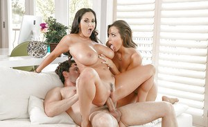 Latina moms Abigail Mac and Ava Addams whip out Large tits during groupsex
