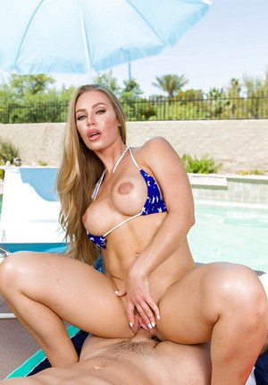 Pornstar Nicole Aniston giving BJ outdoors in bikini before hardcore fuck