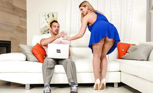 Stocking and high heels clad wife Brooklyn Chase unveiling large MILF juggs