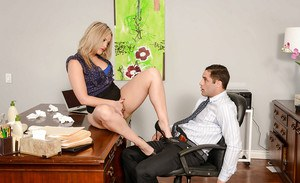 Busty MILF Alexis Texas having ass licked underneath skirt in office