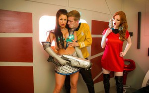 Busty cosplay attired chicks Brooklyn Blue and Zara DuRose having three way