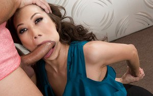 Asian mom Kalina Ryu giving long cock ball licking oral sex in office
