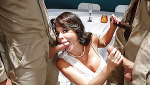 MILF pornstar Veronica Avluv taking interracial gangbang in wedding dress