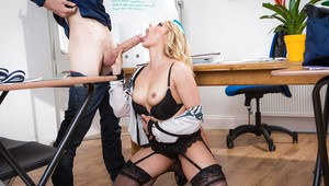 Blond teacher exposing large MILF boobs before giving BJ and taking fisting