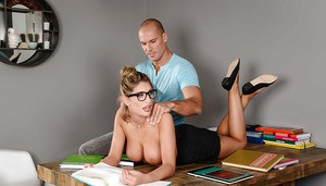 Glasses adorned coed August Ames making pornstar debut after massage