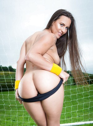 European babe Mea Melone loosing big butt from shorts outdoors in socks
