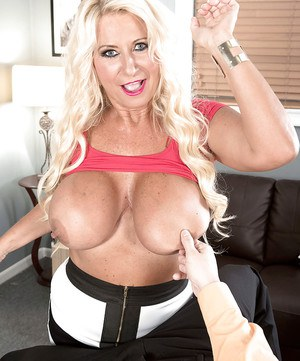 Aged blonde Annellise Croft unveiling massive boobs before fucking big cock