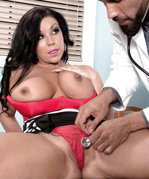 Brunette plumper Sheridan Love having big boobs examined by doctor