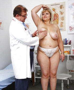 Mature fatty with large saggy tits and hairy cunt penetrated by kinky doc