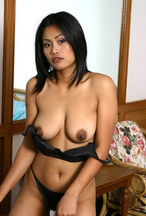 Asian first timer loosing big natural tits and ass from lingerie