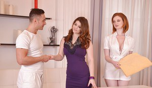 Zara DuRose and Lucia Love take cumshot on tongues after threesome blowjob