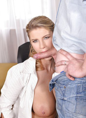 Busty European MILF Katerina Hartlova giving titjob and BJ in skirt