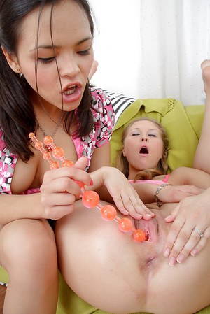 Lesbian teens Abigail and Trinity toy assholes and twats after rimjobs