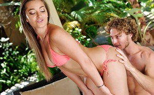 Pornstar Dani Daniels freeing tiny tits from bikini before big cock banging