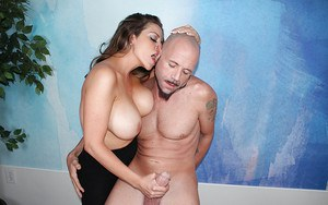 Busty over 40 lady Sienna Lopez jerking cock for happy ending cumshot