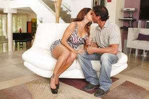 Buxom European MILF Ava Addams freeing big ass from ubdies before giving BJ