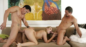Leggy slut Celeste rides one cock while blowing another in MMF threesome