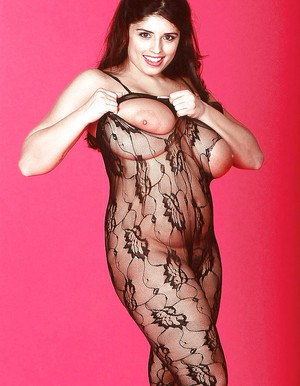 European babe Kerry Marie loosing huge boobs from crotchless bodystocking