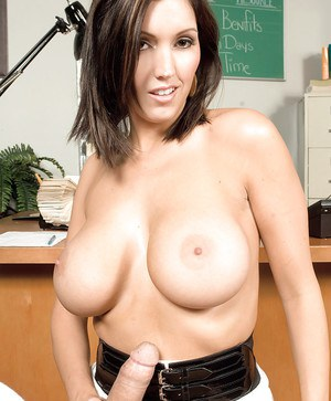 MILF Dylan Ryder takes cumshot on large boobs after hardcore office fuck