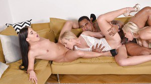 Hot Euro chicks eat each others cunt while pounded by big black cock