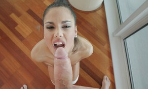 Brunette slut Apolonia Lapiedra enjoying mouthful of cum from big cock
