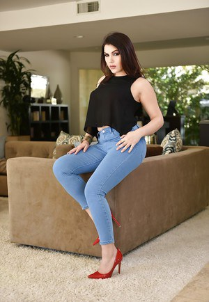 Brunette solo girl Valentina Nappi sliding jeans over big fat ass