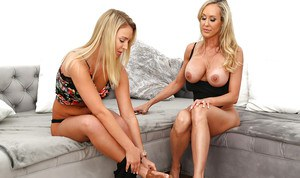 Blonde MILF Brandi Love and young cutie Cali Sparks lick eat out cunts