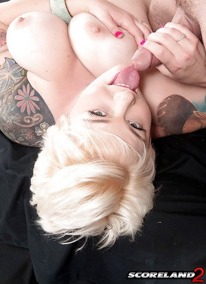 Blonde plumper Missy Monroe demonstrating big boobs during butt fucking