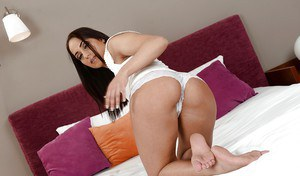 Euro model Melon freeing sexy ass and pink pussy from white lace panties