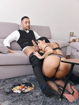 European MILF Kira Queen banging dick in sexy black stockings