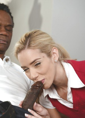 Blonde cutie Nesty giving older black man ball licking BJ before cumshot
