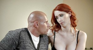 Redhead stepmom presents husband by with blonde stepdaughter to give BJ