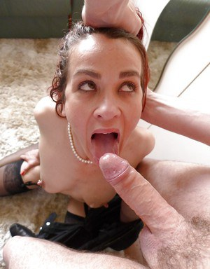 Amateur Monica Bollocksy displaying saggy tits during deepthroat face fuck