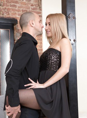 European blonde Tina Molly taking brutal ass fucking in black pantyhose